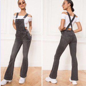 Free People Carly Gray Denim Overalls Size 28 NWT